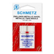 Иглы SCHMETZ двойные для металлизированных нитей №80